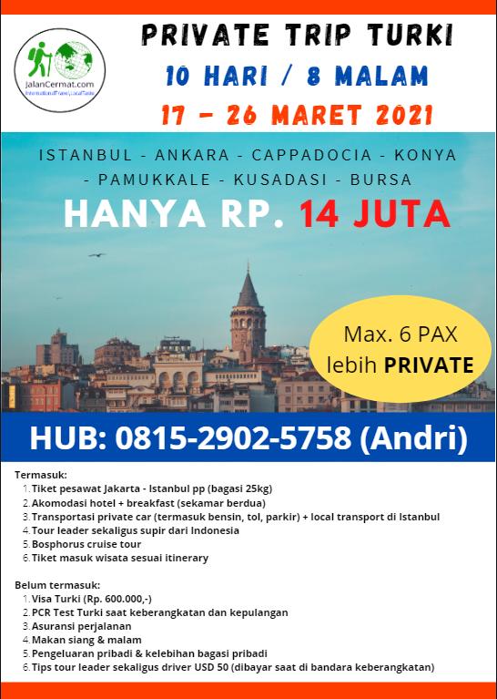 Turki 17-26 Maret 2021 paket